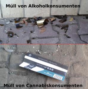 Müll von Drogenkonsumenten: Alkohol vs. Cannabis